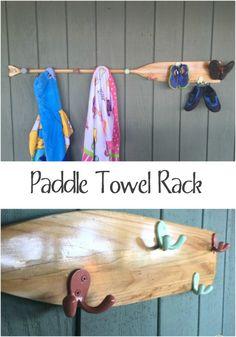Such a great beach/lake house towel rack!