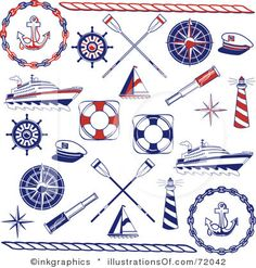 Digital Collage Of Red And Blue Nautical Icons Posters, Art Prints by - Interior Wall Decor Nautical Clipart, Nautical Cards, Nautical Design, Nautical Theme, Nautical Bedroom, Craft Free, Illustrations, Digital Collage, Icon Set
