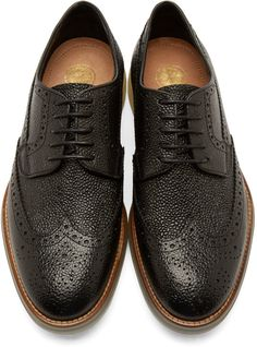 H by Hudson Black Pebbled Leather Harvey Brogues