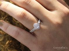 Gabriel NY - Voted #1 Most Preferred Fine Jewelry and Bridal Brand. Vintage 14k White Gold Oval Halo  Engagement Ring