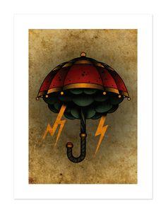 Umbrella Storm Lightning Neo-Traditional Tattoo Flash Old Traditional Tattoo Umbrella, Traditional Tattoo Flash Art, Traditional Tattoo Flowers, Traditional Tattoo Old School, Small Arrow Tattoos, Cool Tribal Tattoos, Small Tattoo, Cool Tattoo Drawings, Vintage Tattoo Art
