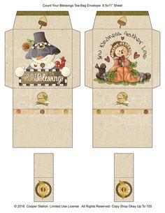 Digital Printable Tea Bag Wrapper - Tea Bag Envelope Autumn - Count Your Blessings - Scarecrow - Pum Fall Crafts, Diy And Crafts, Paper Crafts, Printable Box, Tea Party Decorations, Decoupage, How To Make Box, Christmas Printables, Craft Fairs