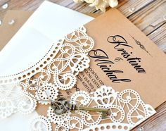 Doily Ivory Key laser cut wedding invitation