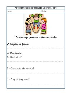 Dori dos 1112_mt005_r1_comprensio_lectora_3 Writing, School, Spanish, Texts, Reading Comprehension, Circus Characters, Children With Autism, Being A Writer, Letter