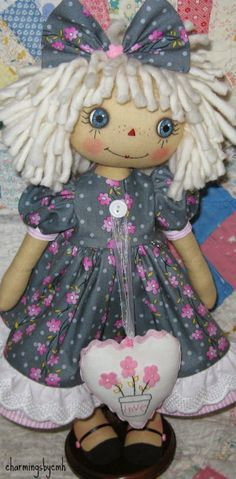 """spring is finally here! this little Annie is in """"love"""" she is 16 inches tall with hand painted eyes and stitched face her lit. Little Pet Shop Toys, Ugly Dolls, Ann Doll, Fabric Dolls, Rag Dolls, Doll Painting, Kokeshi Dolls, Raggedy Ann, Waldorf Dolls"""