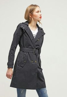ONLY Savannah Trench Coat with handy removable hood - blue graphite