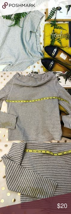 """Standard James Perse cotton grey striped top 4 FLAW Standard James perse grey cotton striped off the shoulder long sleeve size 4 ✨TOP HAS FLAW  a yellow """"stain"""" on the left arm  It might come out I am not sure  I have rolled the sleeves up to show how this can be worn Bc of the stain  Any ? Please ask I would love to accept your offer ✨💛 James Perse Tops"""