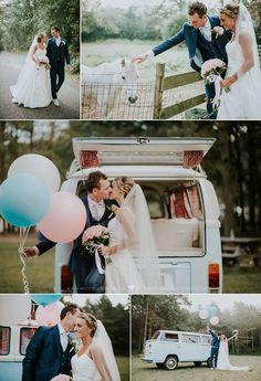 Maak je bruiloft compleet met een Volkswagen T2 bus al trouwauto. Dit is onze Blue Ocean in het baby blauw. Foto credits: Wat een plaatje.