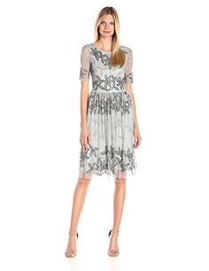 Adrianna Papell Women's Beaded Fit and Flare Cocktail Dress with Sleeves - New Dresses Special Today