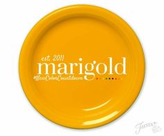 """Did you know that Marigold, the color we introduced in was our anniversary color? In honor of the year of Fiesta, we only produced Marigold for 75 weeks before retiring it. Fiesta Colors, Everyday Dishes, Homer Laughlin, Shades Of Yellow, Marigold, Dinnerware, Anniversary, Delish, Social Media"