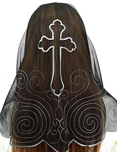 Anna Veils Chapel Catholic Veil Spanish Lace Mantilla Medium - Cross (Black-Gray): This is a special design that Cross is embroidered in the backside. It is a veil that is very popular for giving a present. Bridal Accessories, Fashion Accessories, Catholic Veil, Mantilla Veil, Chapel Veil, Handmade Wire, Black And Grey, Gray, Latest Fashion