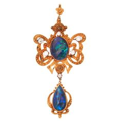 GABRIELLE'S AMAZING FANTASY CLOSET | Incredible Etruscan Black Opal Diamond Brooch Pendant