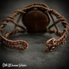 Dragon's Skin - Agate and Copper Woven Wire Cuff Bracelet from The Dream Faire on Storenvy
