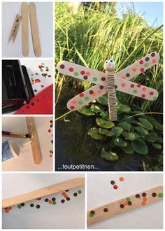 Petit tuto de la libellule avec une pincette + bâtonnets en bois. www.toutpetitrien.ch/bricos/ - fleurysylvie