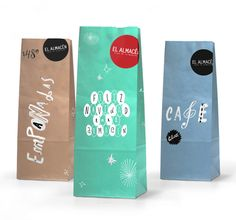 colored, hand lettered paper bags