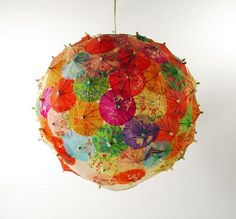 ceiling lamp from cocktail umbrellas