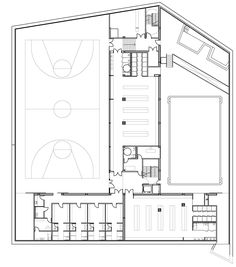 Gallery of Sports Facility / Batlle i Roig Arquitectes - 36 Stadium Architecture, Cultural Architecture, School Architecture, Architecture Plan, Building Design Plan, Architecture Concept Diagram, Medical Office Design, Gym Interior, Construction Business