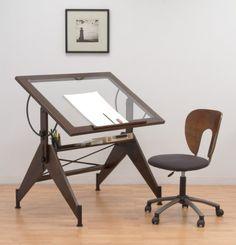 Amazon.com: STUDIO DESIGNS Aries Glass Top Drafting Table Sonoma Dark  Walnut Brown/