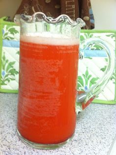 1-Can frozen Lemonade 1-Can frozen Orange juice 1-Large(48oz) Can of Pineapple Juice (not Frozen) 1-box of Raspberry jello 1-2 liter of ginger ale/7Up/Sprite(whatever one is you fav) Makes just over two pitchers or fills a punch bowl righ