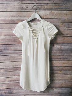Walker Lace Up Dress (Soft White)