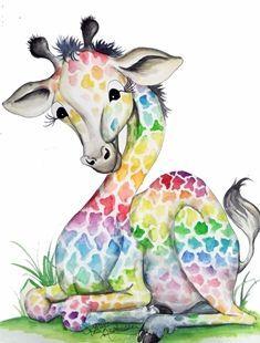 simple rainbow giraffe - Google Search