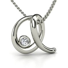 "Sterling Silver Necklace with Diamond | Love Letters ""A"" Pendant With Gem 