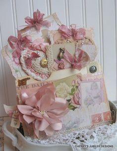 shabby chic Mothers Day pocket full of tags pin cushion stitched large envelope gift decoration