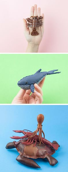 Leather animals by Freda Cheung // plush toys // soft sculptures
