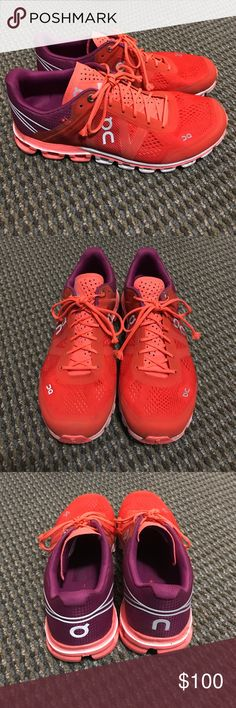 Women's Running Sneakers Red to purple ombré colored women's running shoes. Worn every other day for a month, running no more than ten miles. In great condition and very comfortable! On Running Shoes Athletic Shoes