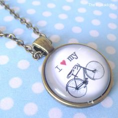 I Love My Bicycle Cabochon Necklace Vintage Bicycle French Parisian Paris Bike…