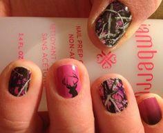 Nail designs for hunting season. Pink Camo Nails, Camo Nail Art, Camouflage Nails, Camo Nail Designs, French Nail Designs, Acrylic Nail Designs, Hot Nails, Hair And Nails, Country Nail Art