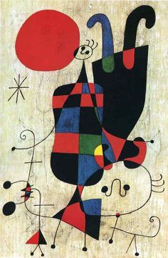 visualartlove: Joan Miro Figures and Dog in Front of the Sun (1949)