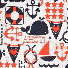 white maritime fabric sailing ship anchor Michael Miller