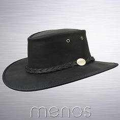 Barmah foldaway bronco black #leather #waterproof bush hat from #australia,  View more on the LINK: http://www.zeppy.io/product/gb/2/231041412145/