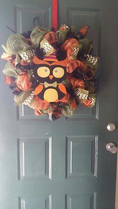 Fall/Halloween Deco Mesh Wreath. #arcmartin80