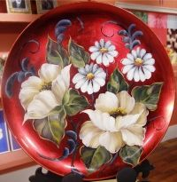 PROYECTO PASO A PASO - Artística MONITOR China Painting, Tole Painting, Ceramic Painting, Painting On Wood, Painting & Drawing, Pintura Tole, Russian Folk Art, Painted Plates, One Stroke Painting