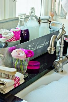 Those bottles are adorable and would look so much better on the sink than a plastic dishwash soap bottle.