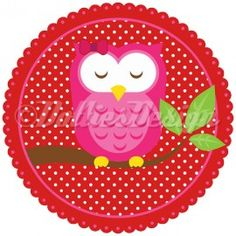 Full Color strijk applicatie Pink Owl, 15 cm  #DIY