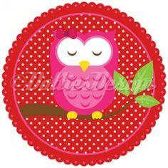 Full Color strijk applicatie Pink Owl, 15 cm  #DIY
