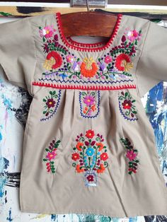 9fc3980f47a78 Vintage Children s Mexican Embroidered Dress by jenEembroidery Mexican  Embroidered Dress