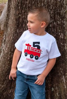Personalized Appliqued Fire Truck Birthday Shirt | Shared by LION