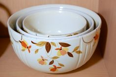 Autumn Leaf Hall China Set of 3 Bowls at greshamantiques.com Join us for our Annual Made in America Sale July 4, 5 and 6, 2014! Antiques at Gresham Lake Raleigh, NC