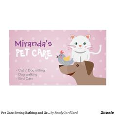 pet sitting services business card animal pet care business card