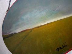 "Wheat Field Original Oil Painting Wall Art Abstract Painting Landscape Painting - daily painting -  oval wood panel - 7""x10"""