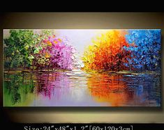 contemporary wall art,Palette Knife Painting, Colourful tree Painting,wall decor Home Decor,Acrylic Textured Painting ON Canvas by Chen Texture Painting On Canvas, Palette Knife Painting, Canvas Art, Textured Painting, Painting Walls, Abstract Landscape Painting, Landscape Paintings, Colorful Trees, Contemporary Wall Art