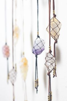 Loving this hanging crystals! I want to recreate this, only with healing crystals, and crystals to banish evil and negativity. // Jackie