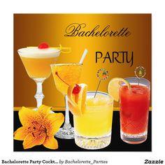 Bachelorette Party Cocktails Drinks 5.25x5.25 Square Paper Invitation Card