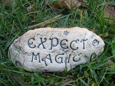 Paint a river rock. Would work well for garden veg names.