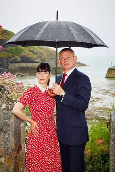 Doc Martin British tv show  Martin Clunes as Doc Martin and Caroline Catz as Louisa