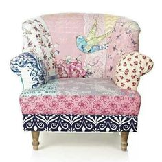 Adore this pretty patchwork chair! So shabby chic! Funky Furniture, Painted Furniture, Furniture Design, Decoupage Furniture, Painted Chairs, Poltrona Vintage, Patchwork Chair, Muebles Living, Take A Seat